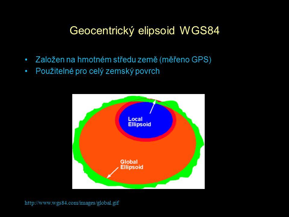 http://www.wgs84.com/images/global.gif Geocentrický elipsoid WGS84 Založen na hmotném středu země (měřeno GPS) Použitelné pro celý zemský povrch