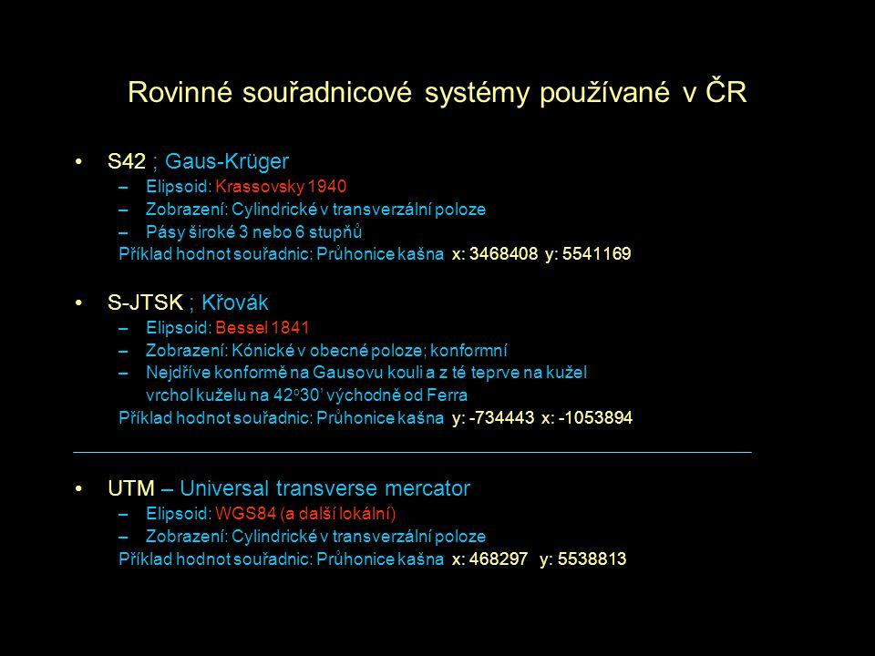 Rovinné souřadnicové systémy používané v ČR S42 ; Gaus-Krüger –Elipsoid: Krassovsky 1940 –Zobrazení: Cylindrické v transverzální poloze –Pásy široké 3