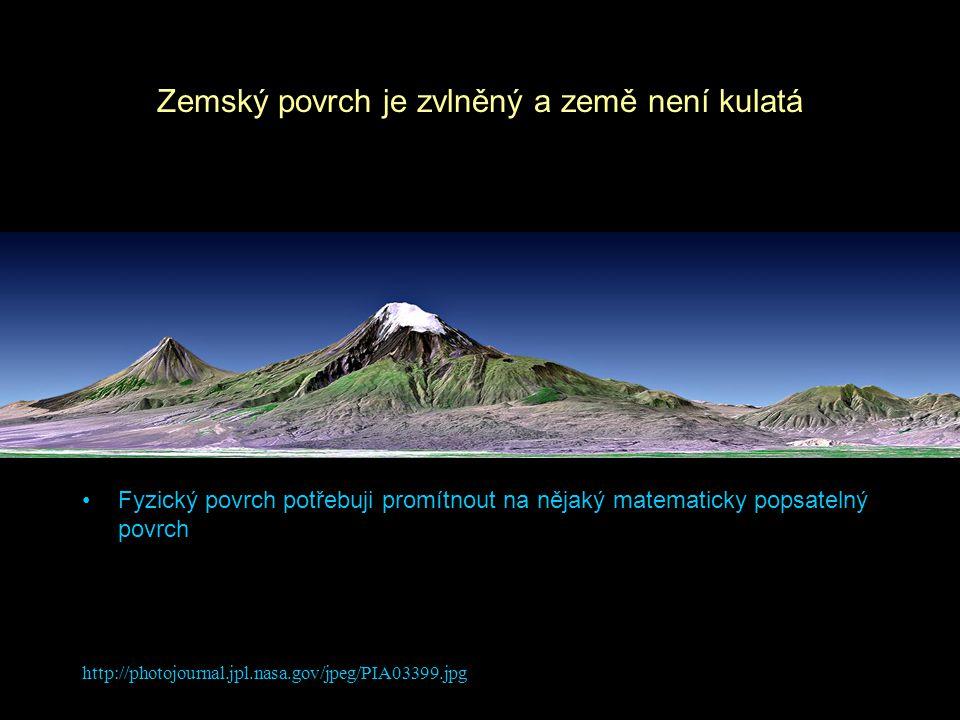 http://photojournal.jpl.nasa.gov/jpeg/PIA03399.jpg Zemský povrch je zvlněný a země není kulatá Fyzický povrch potřebuji promítnout na nějaký matematic