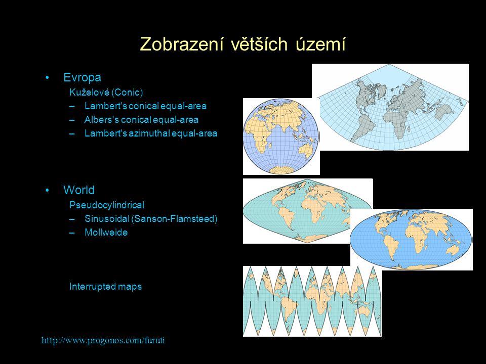 http://www.progonos.com/furuti Zobrazení větších území Evropa Kuželové (Conic) –Lambert's conical equal-area –Albers's conical equal-area –Lambert's a