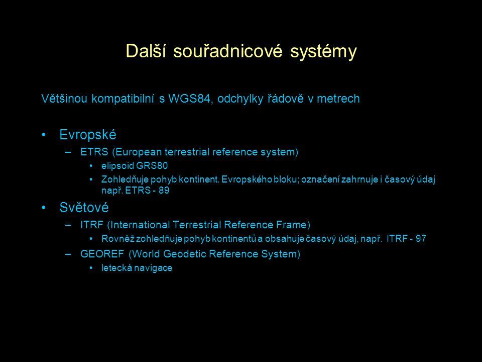 Další souřadnicové systémy Většinou kompatibilní s WGS84, odchylky řádově v metrech Evropské –ETRS (European terrestrial reference system) elipsoid GR
