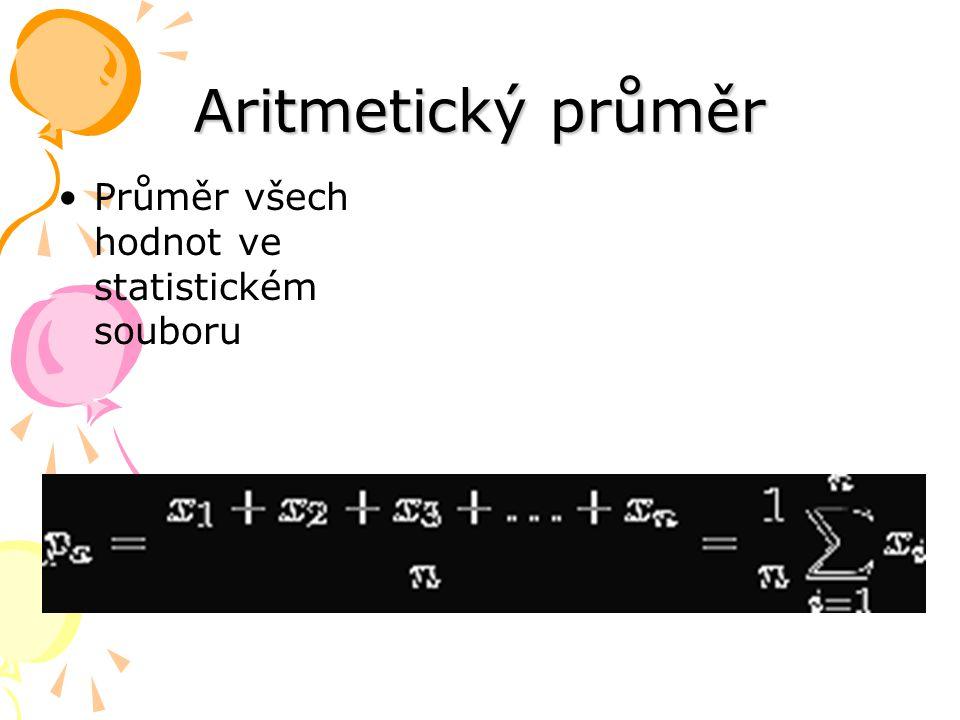 Aritmetický průměr Průměr všech hodnot ve statistickém souboru
