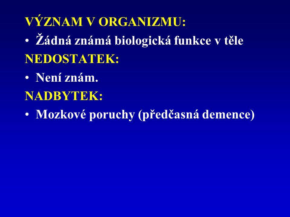 VÝZNAM V ORGANIZMU: Žádná známá biologická funkce v těle NEDOSTATEK: Není znám. NADBYTEK: Mozkové poruchy (předčasná demence)
