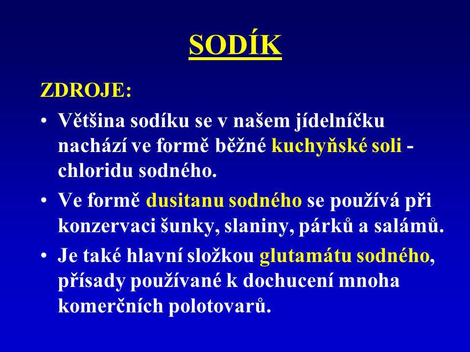 SODÍK ZDROJE: Většina sodíku se v našem jídelníčku nachází ve formě běžné kuchyňské soli - chloridu sodného. Ve formě dusitanu sodného se používá při