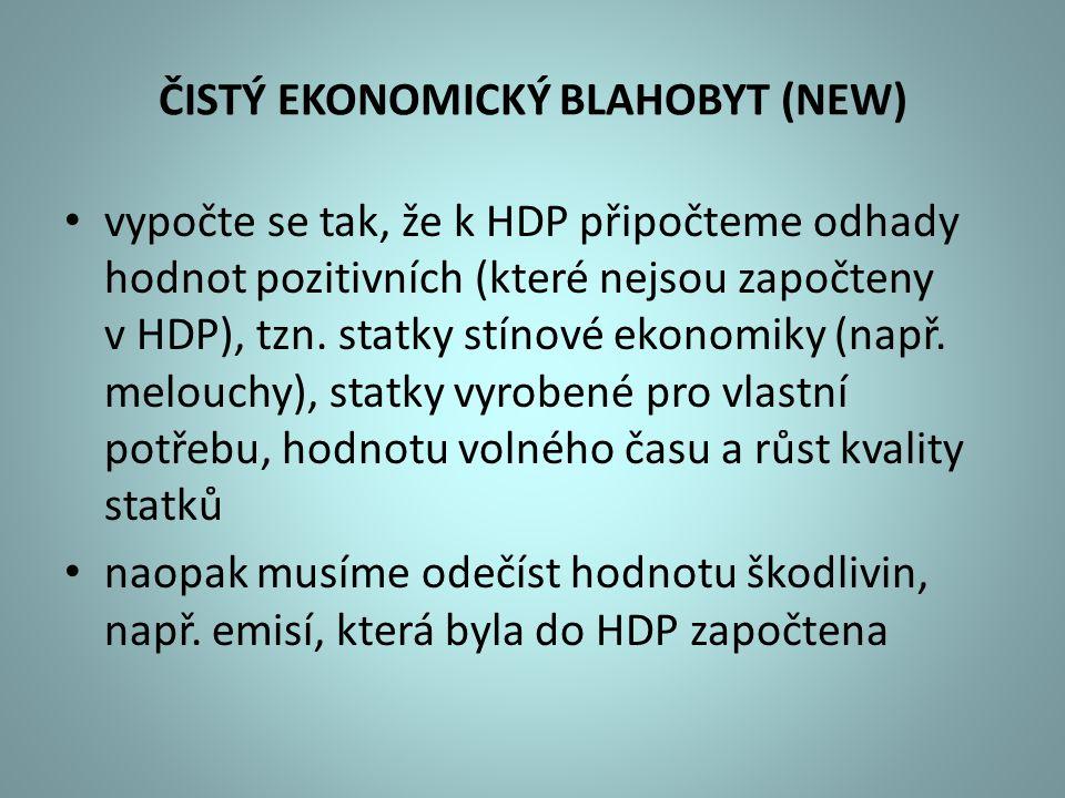 ČISTÝ EKONOMICKÝ BLAHOBYT (NEW) vypočte se tak, že k HDP připočteme odhady hodnot pozitivních (které nejsou započteny v HDP), tzn. statky stínové ekon