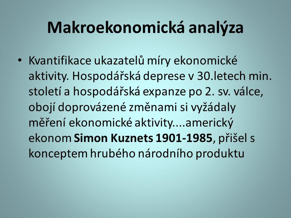 Makroekonomická analýza Kvantifikace ukazatelů míry ekonomické aktivity. Hospodářská deprese v 30.letech min. století a hospodářská expanze po 2. sv.