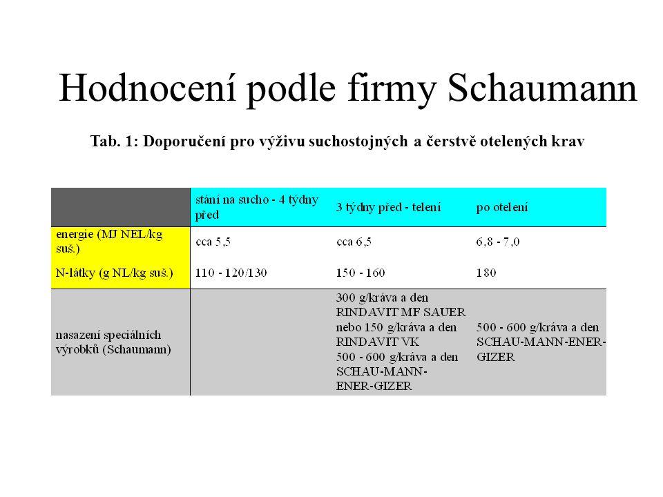Hodnocení podle firmy Schaumann Tab. 1: Doporučení pro výživu suchostojných a čerstvě otelených krav