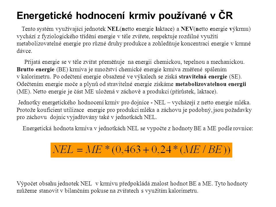 Energetické hodnocení krmiv používané v ČR Tento systém využívající jednotek NEL(netto energie laktace) a NEV(netto energie výkrmu) vychází z fyziolog