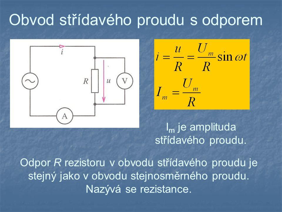 Obvod střídavého proudu s kapacitou Kapacitance X C je nepřímo úměrná kapacitě kondenzátoru C a úhlové frekvenci  střídavého proudu.