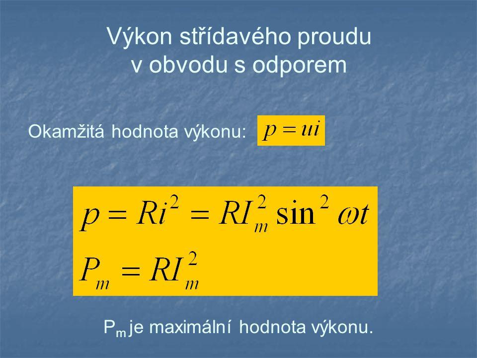 Výkon střídavého proudu v obvodu s odporem I, U jsou efektivní hodnoty střídavého proudu a napětí