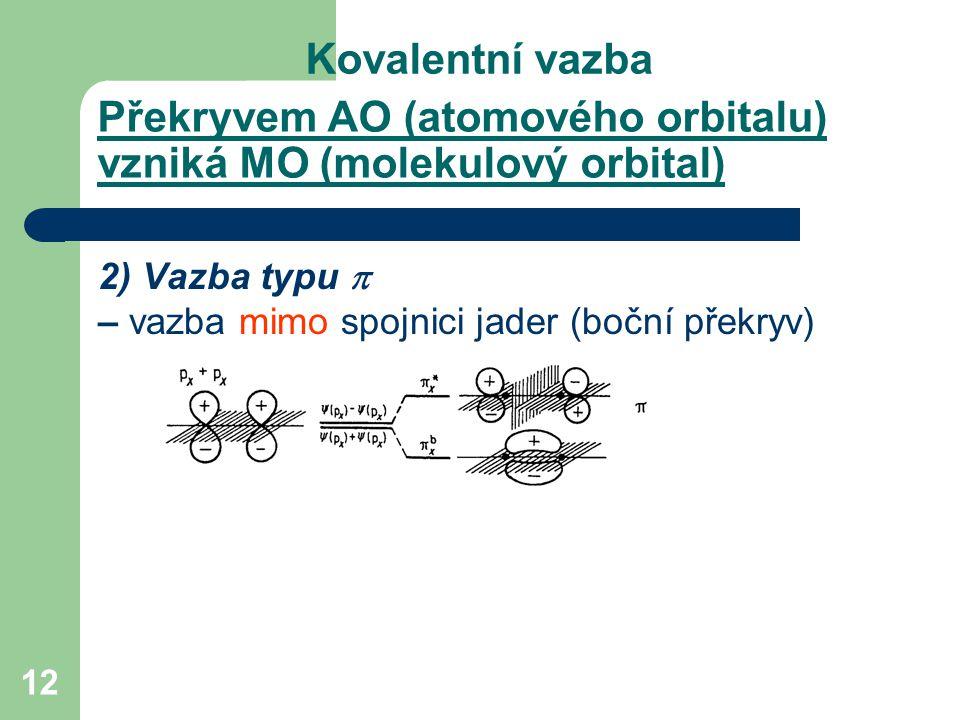 12 2) Vazba typu  – vazba mimo spojnici jader (boční překryv) Kovalentní vazba Překryvem AO (atomového orbitalu) vzniká MO (molekulový orbital)