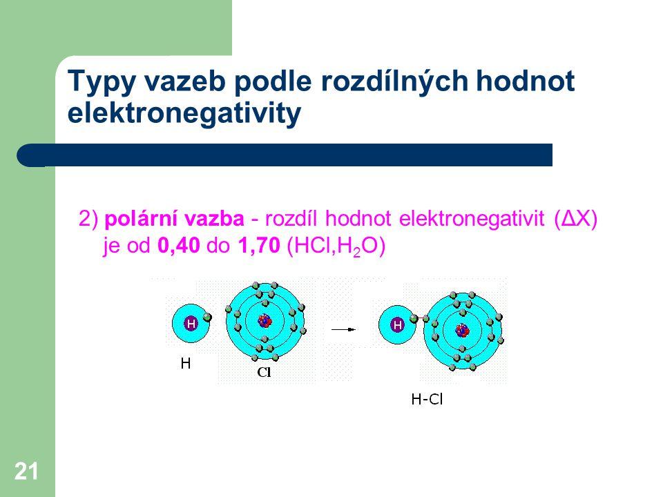 21 Typy vazeb podle rozdílných hodnot elektronegativity 2) polární vazba - rozdíl hodnot elektronegativit (ΔX) je od 0,40 do 1,70 (HCl,H 2 O)