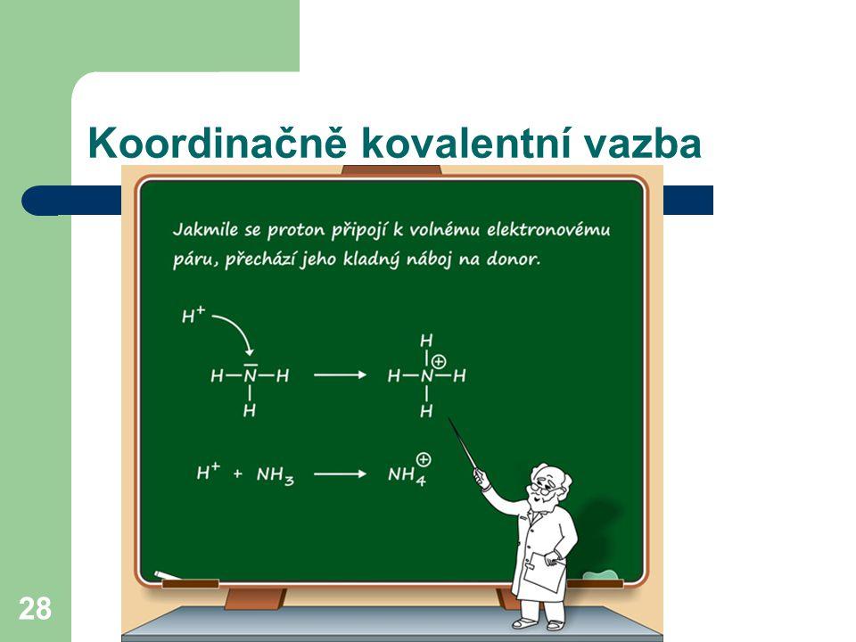 28 Koordinačně kovalentní vazba + H +