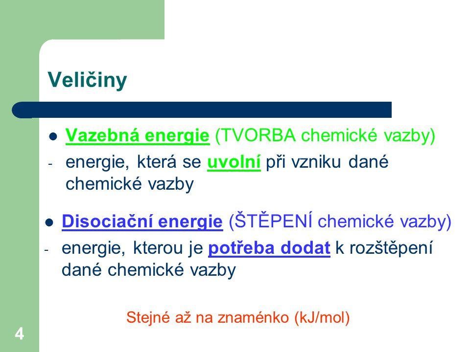 4 Veličiny Vazebná energie (TVORBA chemické vazby) - energie, která se uvolní při vzniku dané chemické vazby Disociační energie (ŠTĚPENÍ chemické vazby) - energie, kterou je potřeba dodat k rozštěpení dané chemické vazby Stejné až na znaménko (kJ/mol)