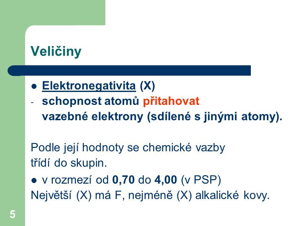 5 Veličiny Elektronegativita (X) - schopnost atomů přitahovat vazebné elektrony (sdílené s jinými atomy).