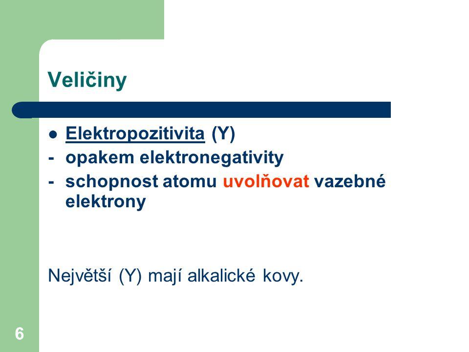 6 Veličiny Elektropozitivita (Y) - opakem elektronegativity - schopnost atomu uvolňovat vazebné elektrony Největší (Y) mají alkalické kovy.