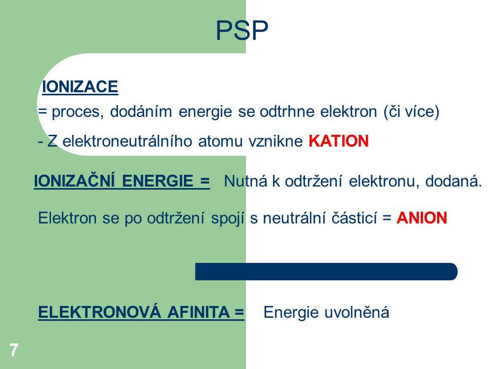 7 PSP = proces, dodáním energie se odtrhne elektron (či více) - Z elektroneutrálního atomu vznikne KATION IONIZACE IONIZAČNÍ ENERGIE =Nutná k odtržení elektronu, dodaná.