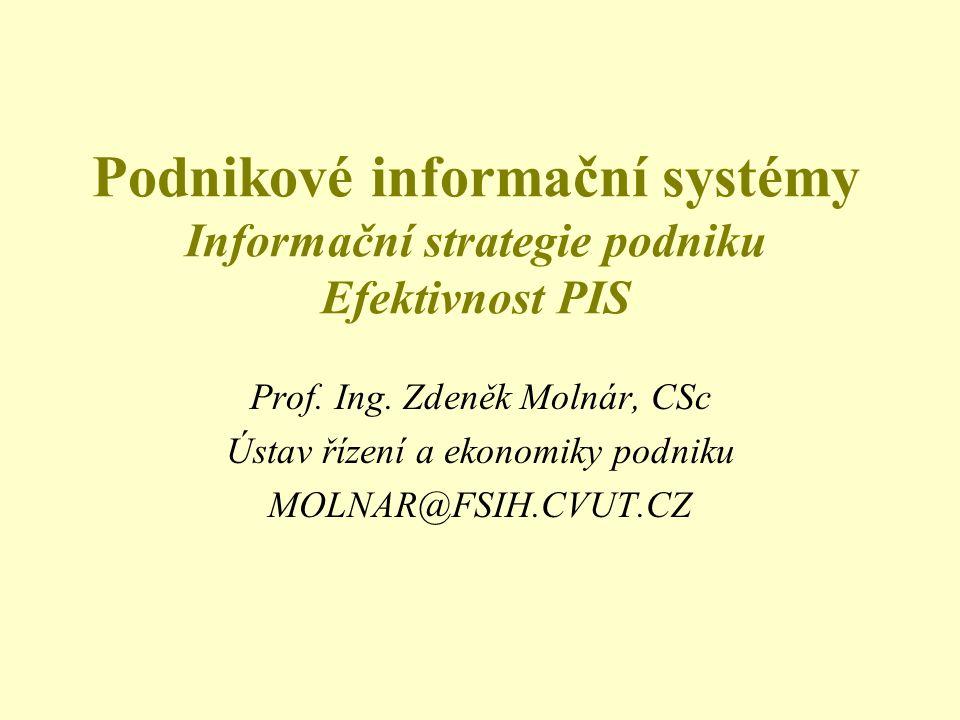 Podnikové informační systémy Informační strategie podniku Efektivnost PIS Prof. Ing. Zdeněk Molnár, CSc Ústav řízení a ekonomiky podniku MOLNAR@FSIH.C