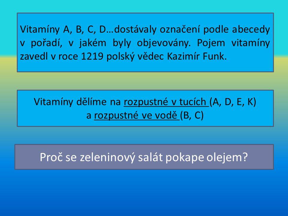 Vitamíny A, B, C, D…dostávaly označení podle abecedy v pořadí, v jakém byly objevovány. Pojem vitamíny zavedl v roce 1219 polský vědec Kazimír Funk. V