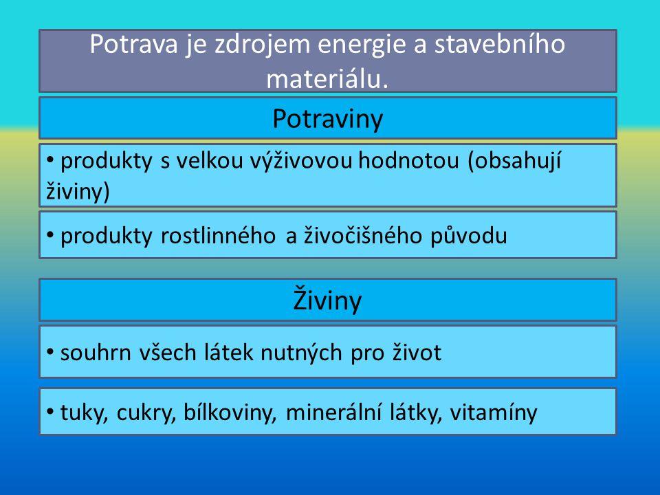 Potraviny Energetické potraviny vysoký obsah cukrů a tuků Stavební potraviny vysoký obsah bílkovin Ochranné potraviny vitamíny a minerální látky Např.