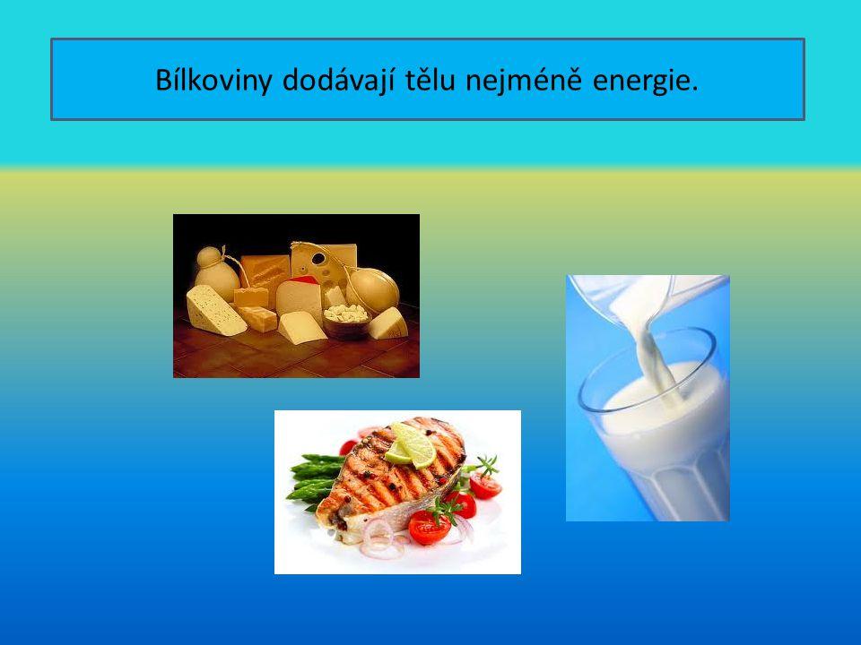 Bílkoviny dodávají tělu nejméně energie.