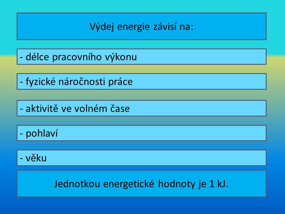 Výdej energie závisí na: - délce pracovního výkonu - fyzické náročnosti práce - aktivitě ve volném čase - pohlaví - věku Jednotkou energetické hodnoty