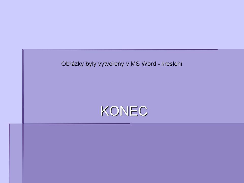 KONEC Obrázky byly vytvořeny v MS Word - kreslení