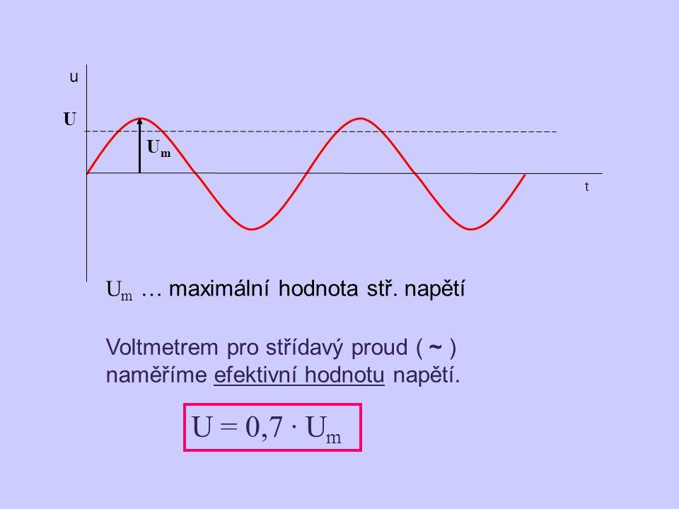 t u U UmUm Voltmetrem pro střídavý proud ( ~ ) naměříme efektivní hodnotu napětí.