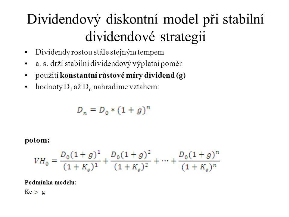 Dividendový diskontní model při stabilní dividendové strategii Dividendy rostou stále stejným tempem a. s. drží stabilní dividendový výplatní poměr po
