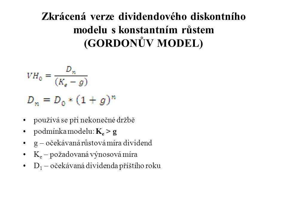 Zkrácená verze dividendového diskontního modelu s konstantním růstem (GORDONŮV MODEL) používá se při nekonečné držbě podmínka modelu: K e > g g – oček