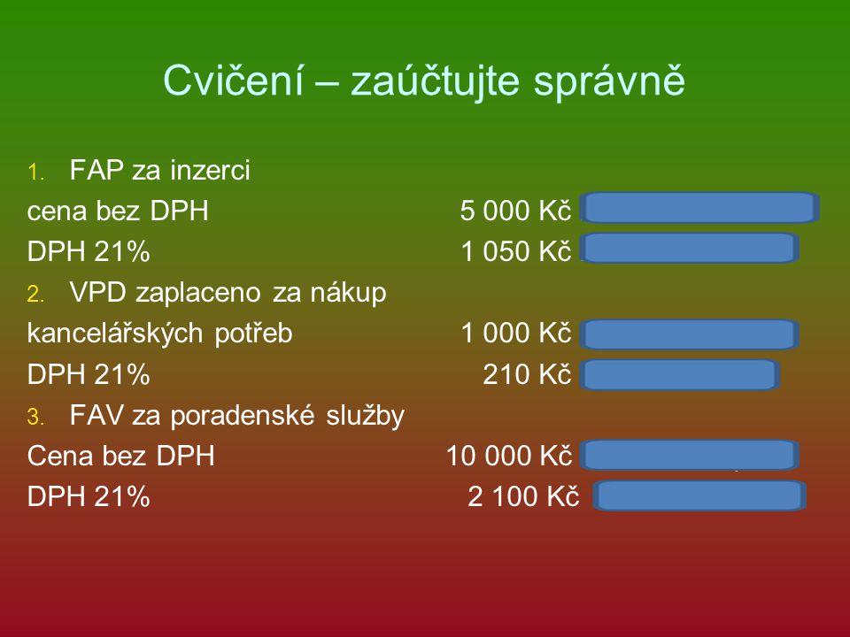 Cvičení – zaúčtujte správně 1. 1. FAP za inzerci cena bez DPH 5 000 Kč náklad/dodavatelé DPH 21% 1 050 Kč DPH/dodavatelé 2. 2. VPD zaplaceno za nákup