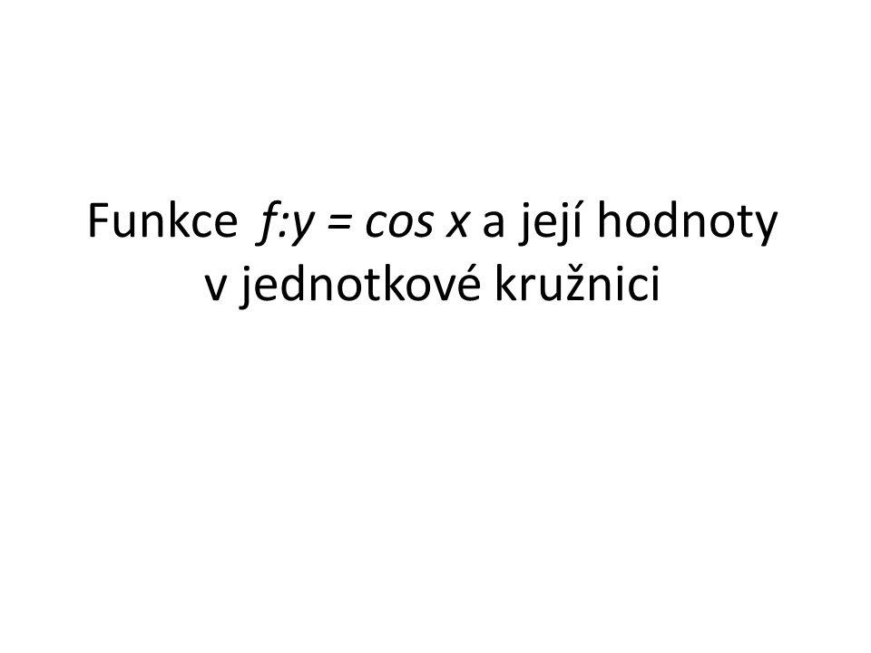 Definice: Funkce f:y = cos x je definována v jednotkové kružnici jako x-ová souřadnice bodu A (bod A leží v průsečíku jednotkové kružnice a jednoho z ramen úhlu x viz.