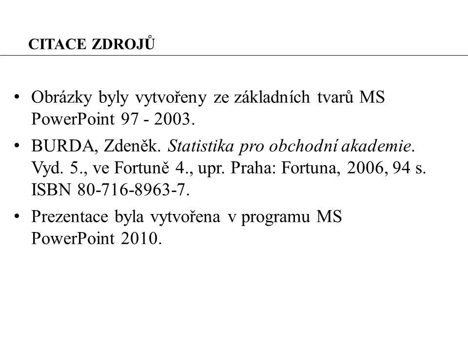 CITACE ZDROJŮ Obrázky byly vytvořeny ze základních tvarů MS PowerPoint 97 - 2003.