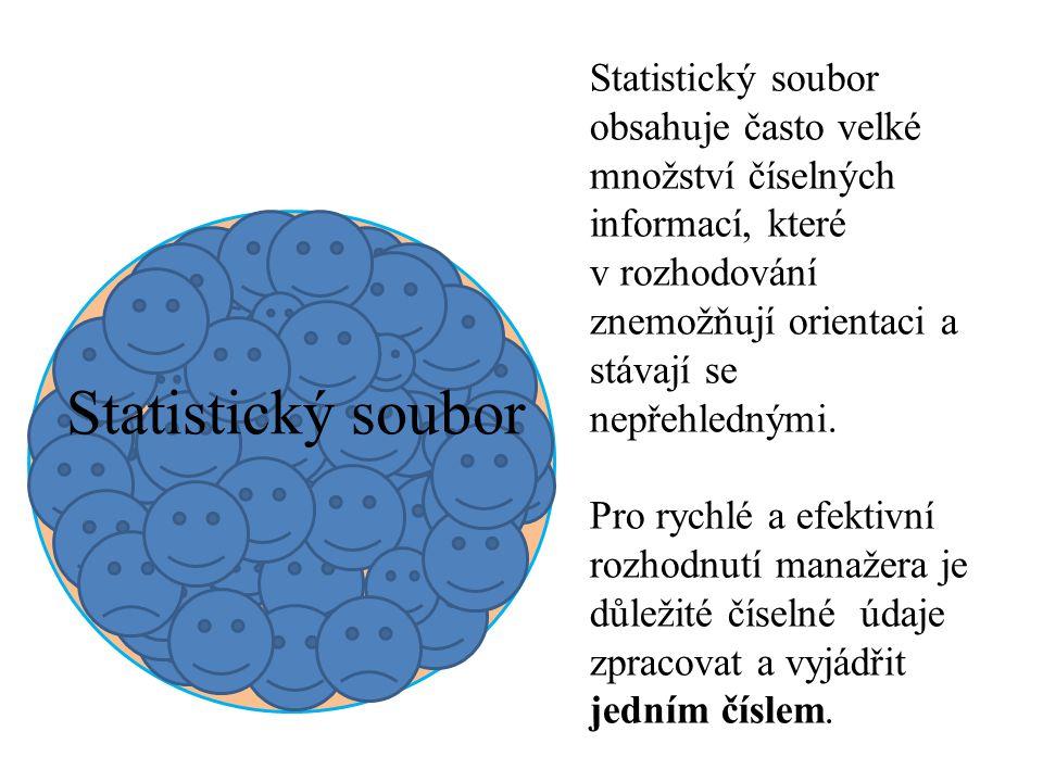Statistický soubor Statistický soubor obsahuje často velké množství číselných informací, které v rozhodování znemožňují orientaci a stávají se nepřehlednými.