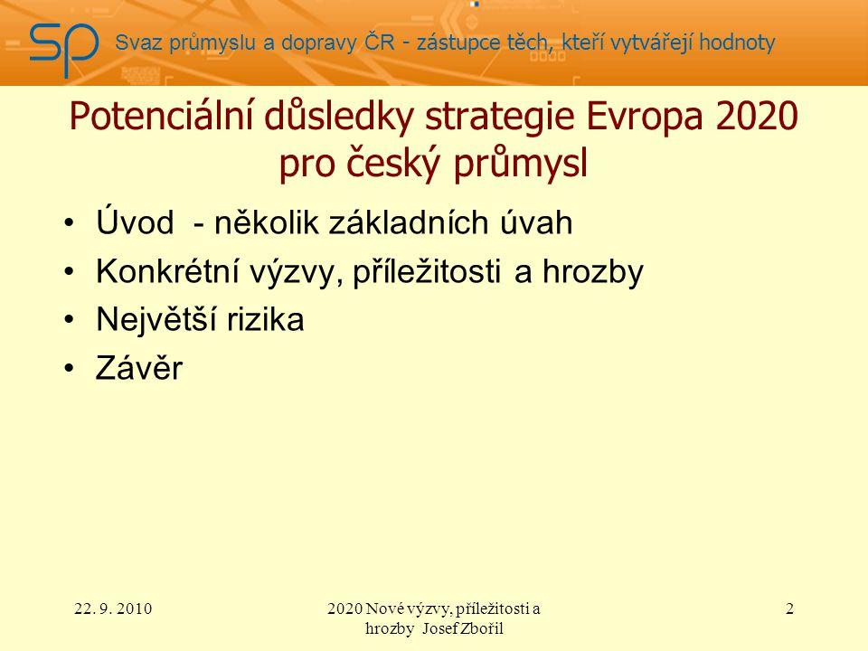 Svaz průmyslu a dopravy ČR - zástupce těch, kteří vytvářejí hodnoty Potenciální důsledky strategie Evropa 2020 pro český průmysl Úvod - několik základních úvah Konkrétní výzvy, příležitosti a hrozby Největší rizika Závěr 22.