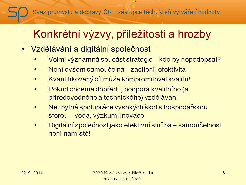 Svaz průmyslu a dopravy ČR - zástupce těch, kteří vytvářejí hodnoty Konkrétní výzvy, příležitosti a hrozby Klima, energie a mobilita Principy – samozřejmě hodné podpory, ale… Výrazně horší uplatněné politiky Cíl 20/20/20 do 2020 je z učebnic socialistických plánovačů – někdo se dlouze díval z okna.