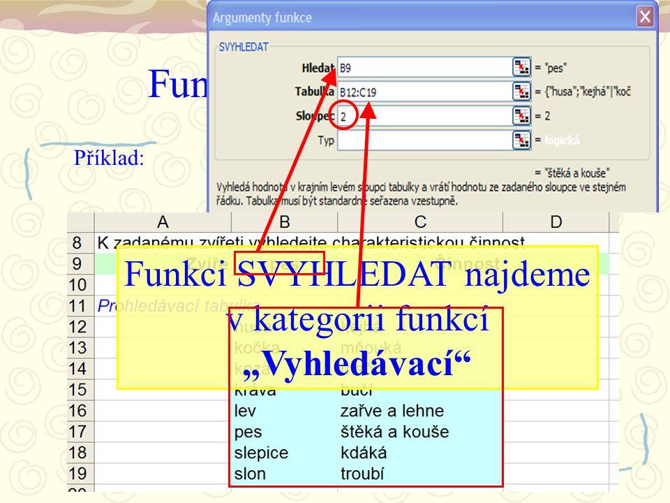 """Funkce SVYHLEDAT Příklad: Funkci SVYHLEDAT najdeme v kategorii funkcí """"Vyhledávací"""