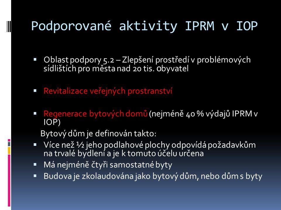Podporované aktivity IPRM v IOP  Oblast podpory 5.2 – Zlepšení prostředí v problémových sídlištích pro města nad 20 tis.