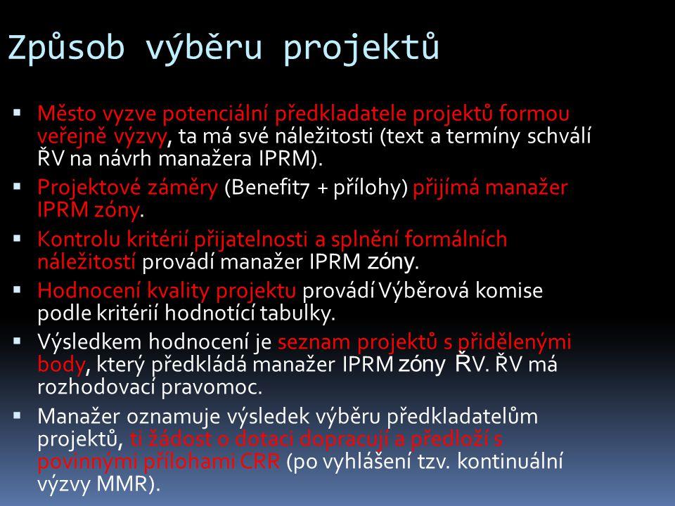 Způsob výběru projektů  Město vyzve potenciální předkladatele projektů formou veřejně výzvy, ta má své náležitosti (text a termíny schválí ŘV na návrh manažera IPRM).