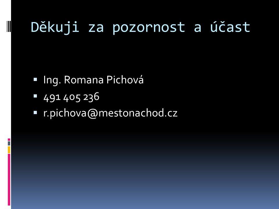 Děkuji za pozornost a účast  Ing. Romana Pichová  491 405 236  r.pichova@mestonachod.cz