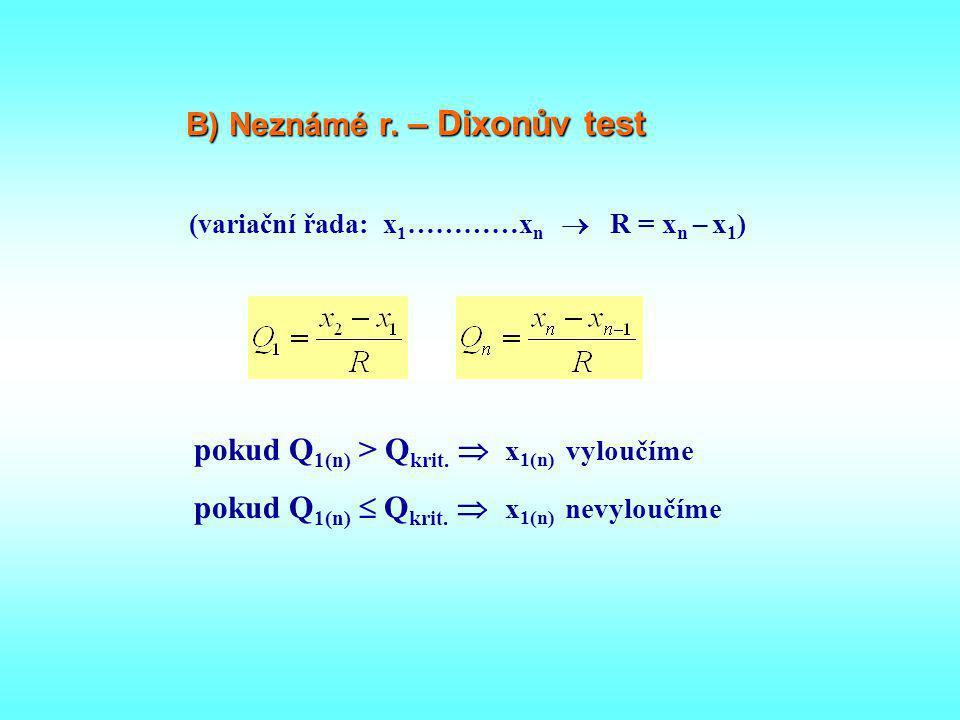 (variační řada: x 1 …………x n  R = x n – x 1 ) B) Neznámé r. – Dixonův test pokud Q 1(n) > Q krit.  x 1(n) vyloučíme pokud Q 1(n)  Q krit.  x 1(n) n