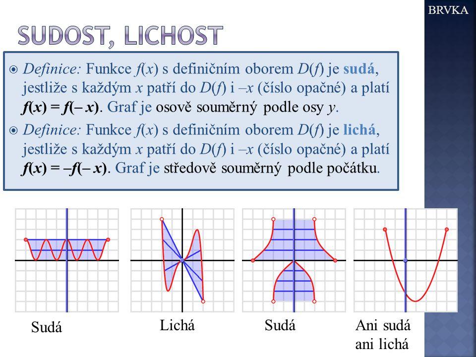  Definice: Funkce f(x) s definičním oborem D(f) je sudá, jestliže s každým x patří do D(f) i –x (číslo opačné) a platí f(x) = f(– x). Graf je osově s