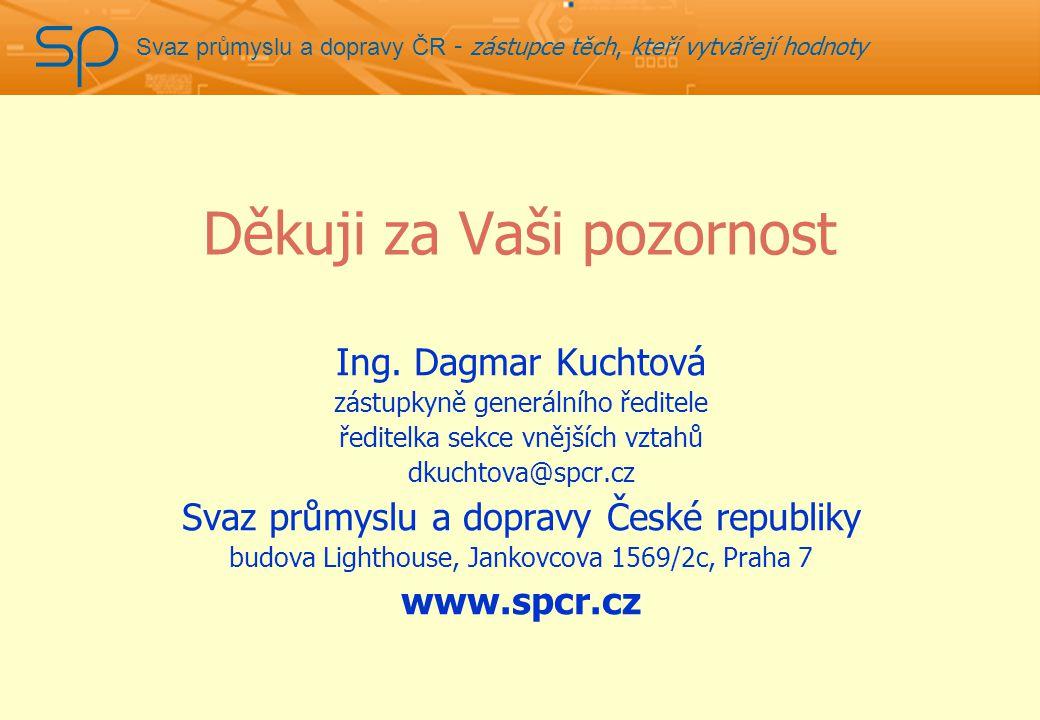 Svaz průmyslu a dopravy ČR - zástupce těch, kteří vytvářejí hodnoty Děkuji za Vaši pozornost Ing.