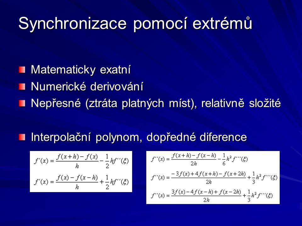 Synchronizace pomocí extrémů Matematicky exatní Numerické derivování Nepřesné (ztráta platných míst), relativně složité Interpolační polynom, dopředné