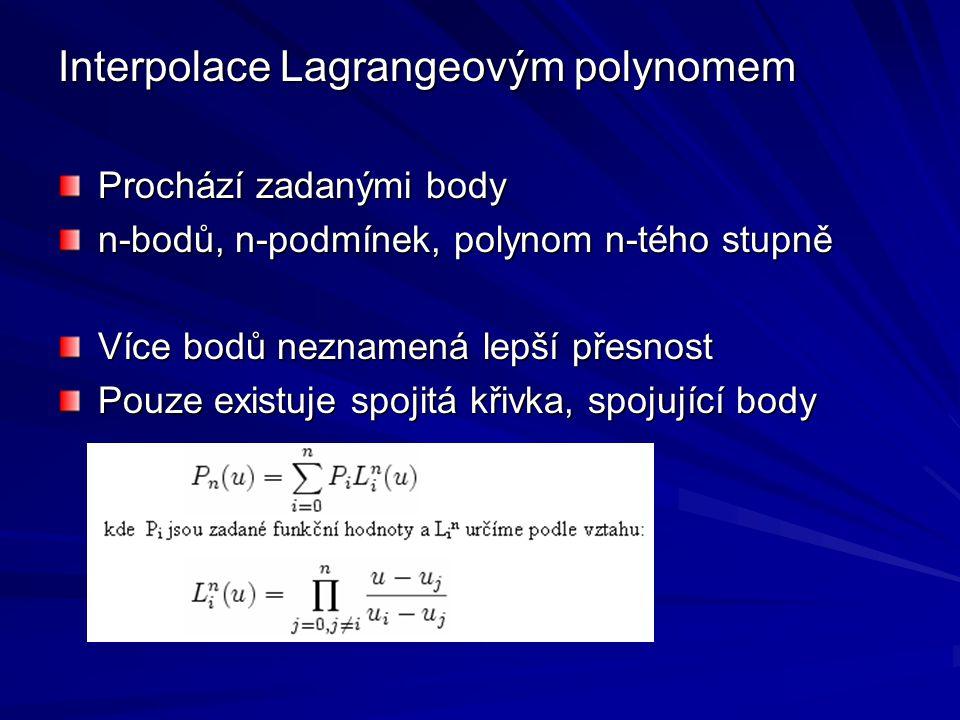 Interpolace Lagrangeovým polynomem Prochází zadanými body n-bodů, n-podmínek, polynom n-tého stupně Více bodů neznamená lepší přesnost Pouze existuje