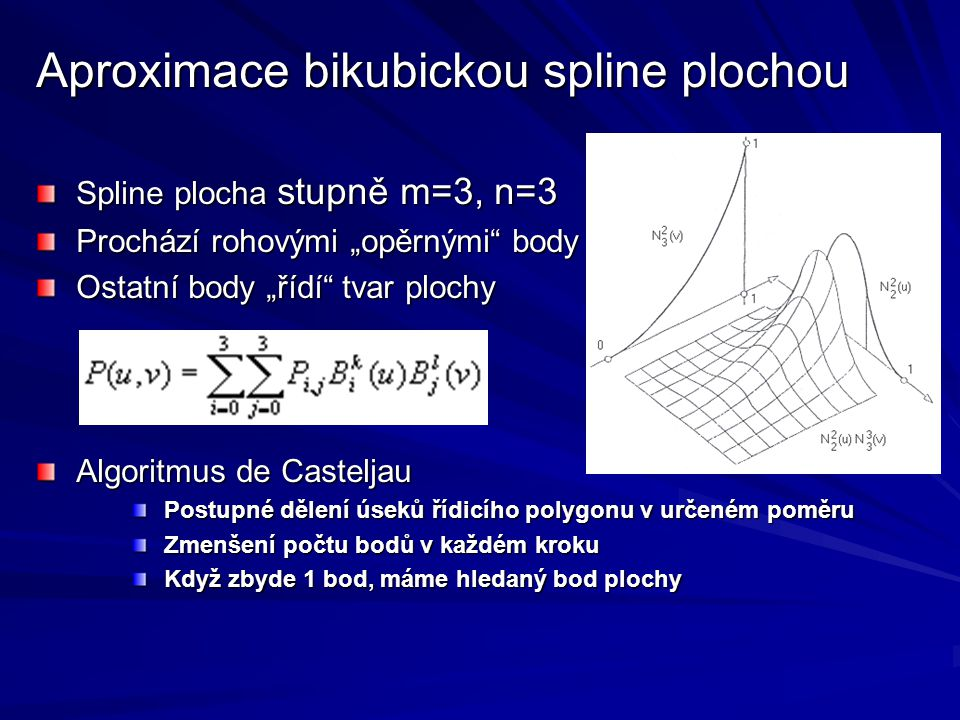 """Aproximace bikubickou spline plochou Spline plocha stupně m=3, n=3 Prochází rohovými """"opěrnými"""" body Ostatní body """"řídí"""" tvar plochy Algoritmus de Cas"""