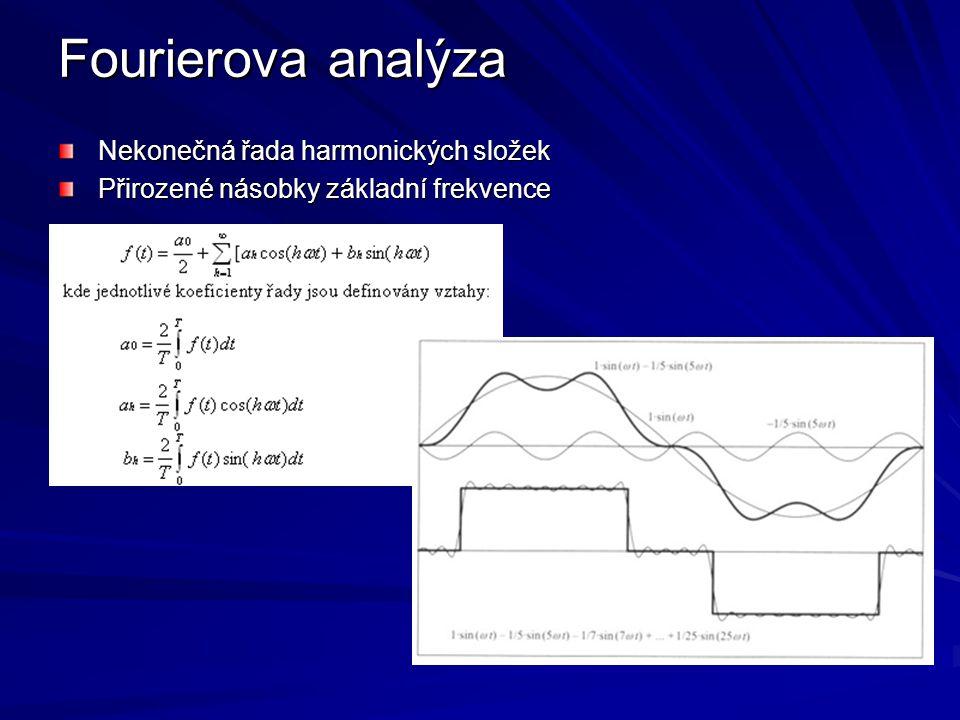 Fourierova analýza Nekonečná řada harmonických složek Přirozené násobky základní frekvence