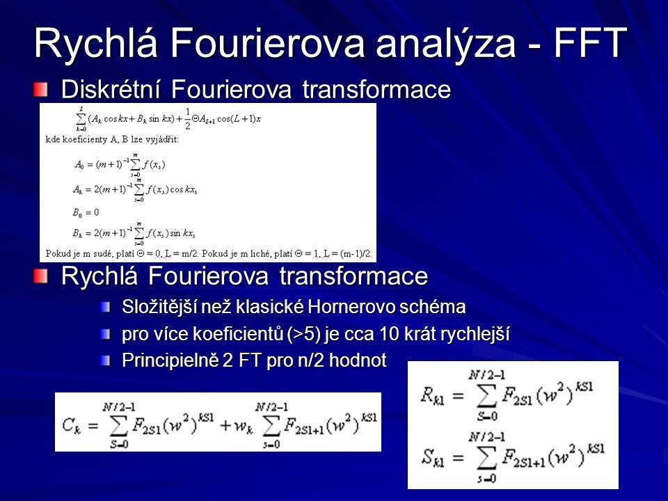 Rychlá Fourierova analýza - FFT Diskrétní Fourierova transformace Rychlá Fourierova transformace Složitější než klasické Hornerovo schéma pro více koe