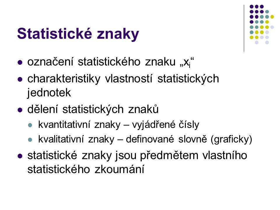 """Statistické znaky označení statistického znaku """"x i """" charakteristiky vlastností statistických jednotek dělení statistických znaků kvantitativní znaky"""