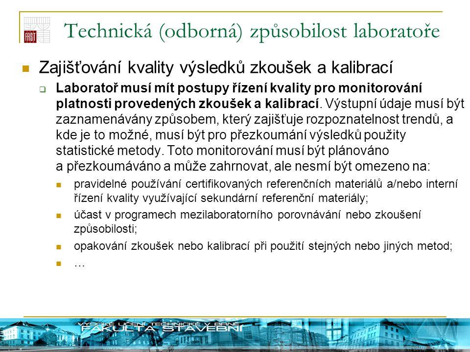 Technická (odborná) způsobilost laboratoře Zajišťování kvality výsledků zkoušek a kalibrací  Laboratoř musí mít postupy řízení kvality pro monitorová